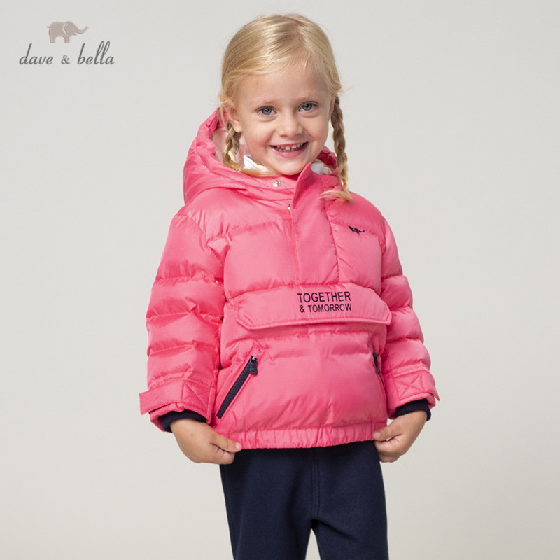 DB11992 dave bella unisex baby boy girl down jacket children 90% white duck down outerwear fashion solid coat