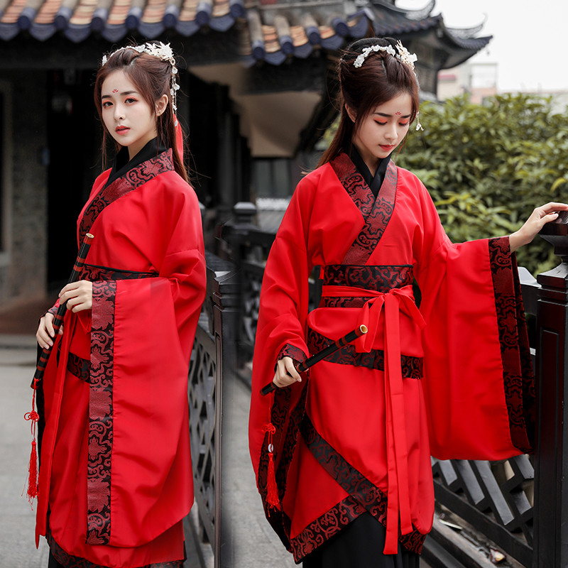 Hanfu Women Red Fairy Dress Classical Dance Costume Singers Stage Wear Folk Outfit Oriental Performance Clothing 3 Pcs DC2596