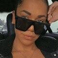 Квадратные Солнцезащитные очки большого размера 2020, Женские винтажные солнцезащитные очки с плоской оправой и заклепками для женщин, зерка...