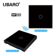 UBARO-Interruptor de Control inalámbrico táctil, Panel de cristal negro, lámpara de luz de pared, RF 433, interruptores de Control 100-240V