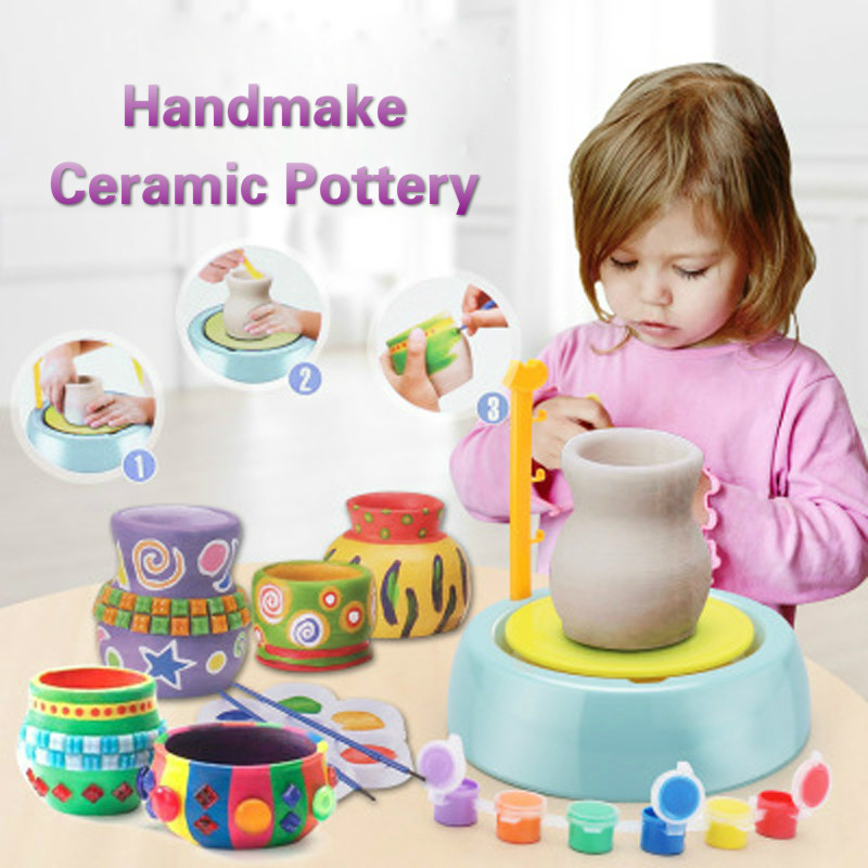 DIY Handmake Ceramic Pottery Machine Kids Craft Toys For Boys Girls Mini Pottery Wheels Arts Crafts Early Educational Child Toy