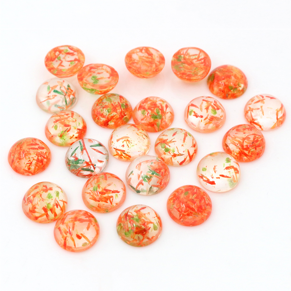New Fashion 20pcs 12mm Red Green Thin Grass Natural Dried Flowers Flat Back Resin Cabochons Cameo -G6-19