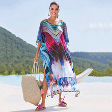 Beach Dress Swimsuits Plage Pareo For The Cover Up Women's Bikini Tunic New Chiffon Robes Loosely Connect Skirt Swimsuit Animal