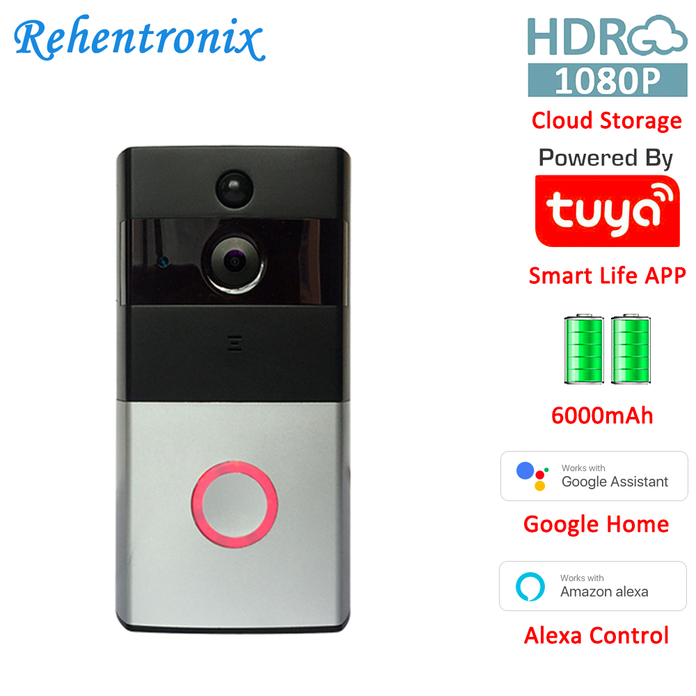 Alexa Google 1080P Two Way Audio Battery Powered Smart Ring Wireless Video Doorbell Camera Cloud Storage Tuya Smart Remote View