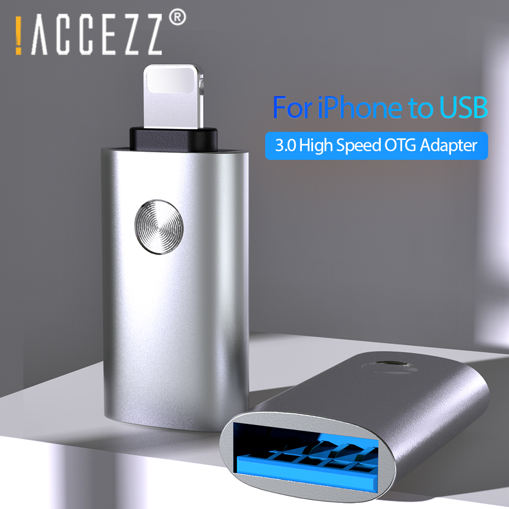 !ACCEZZ USB OTG Adapter For IPhone 11 Pro Max X XR XS 8 Plus Tablet Camera Laptop Keyboard Connector Lighting To USB 3.0 Adapter
