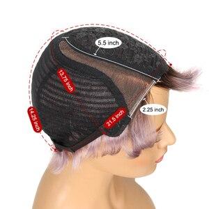 Image 5 - Trueme perruque coupe Pixie, coiffure sur dentelle avec partie courbée, court, couleur Ombre 613, blond, violet, rouge, 100% cheveux humains, brésilien