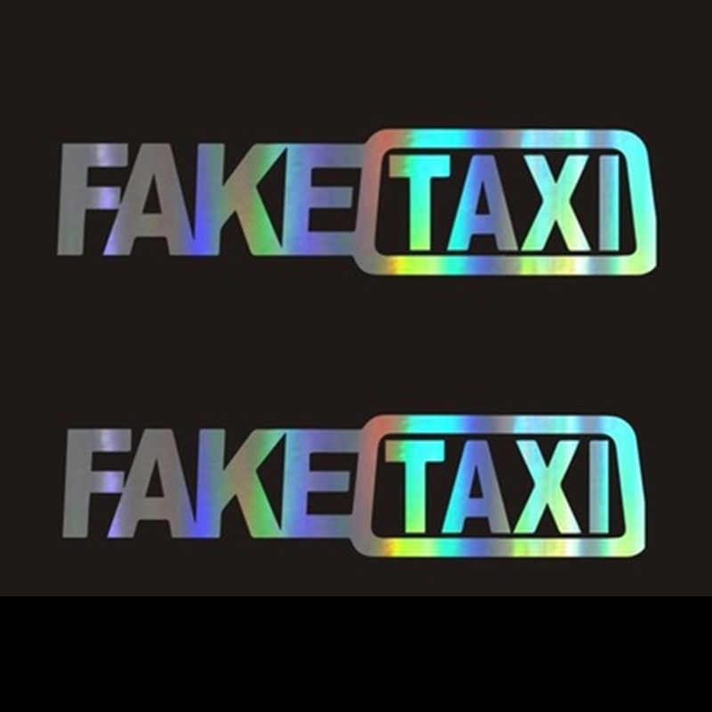 おかしいタクシー車の自動車ステッカーfaketaxiデカールエンブレム自己粘着ビニールユニバーサルbmwフォードトヨタvwホンダ起亜オペルkia