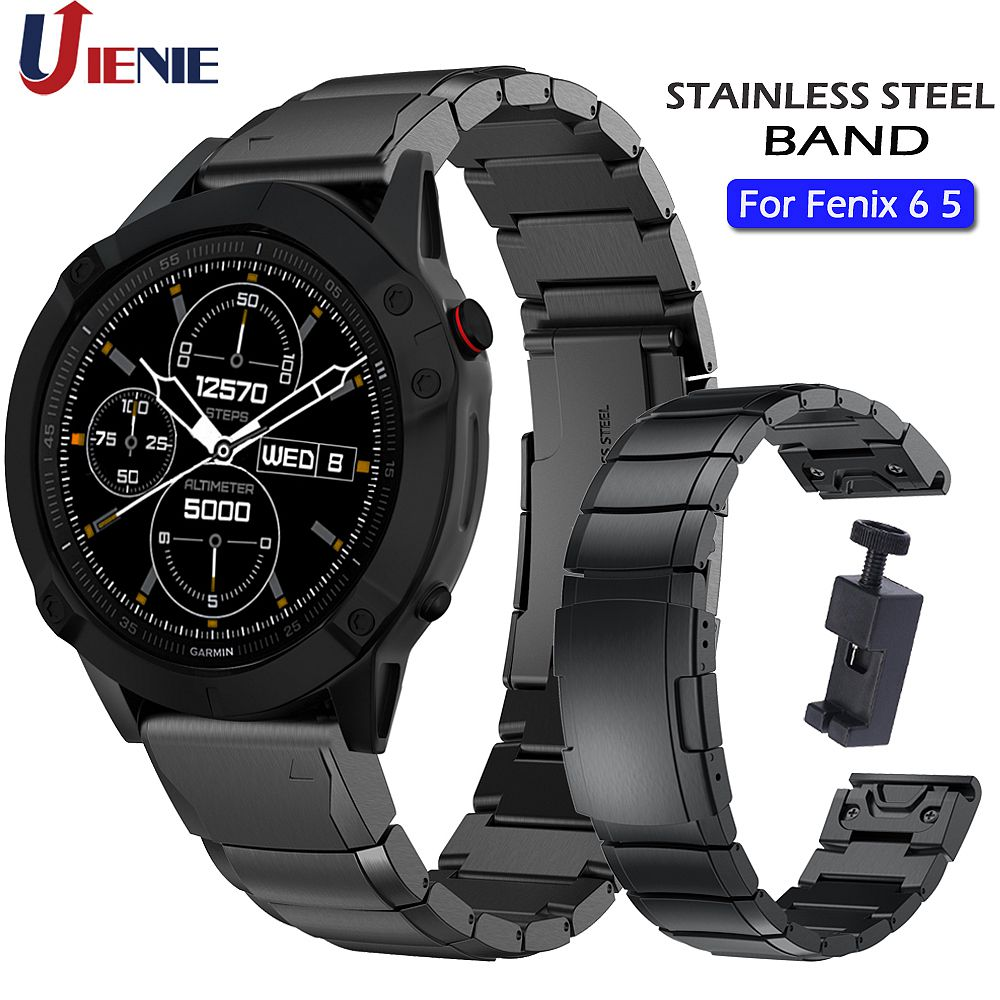 Stainless Steel Band For Garmin Fenix 6/6Pro/5/5Plus/Forerunner 935 945 Strap Watchband 22mm Wristband Metal Links With Tool