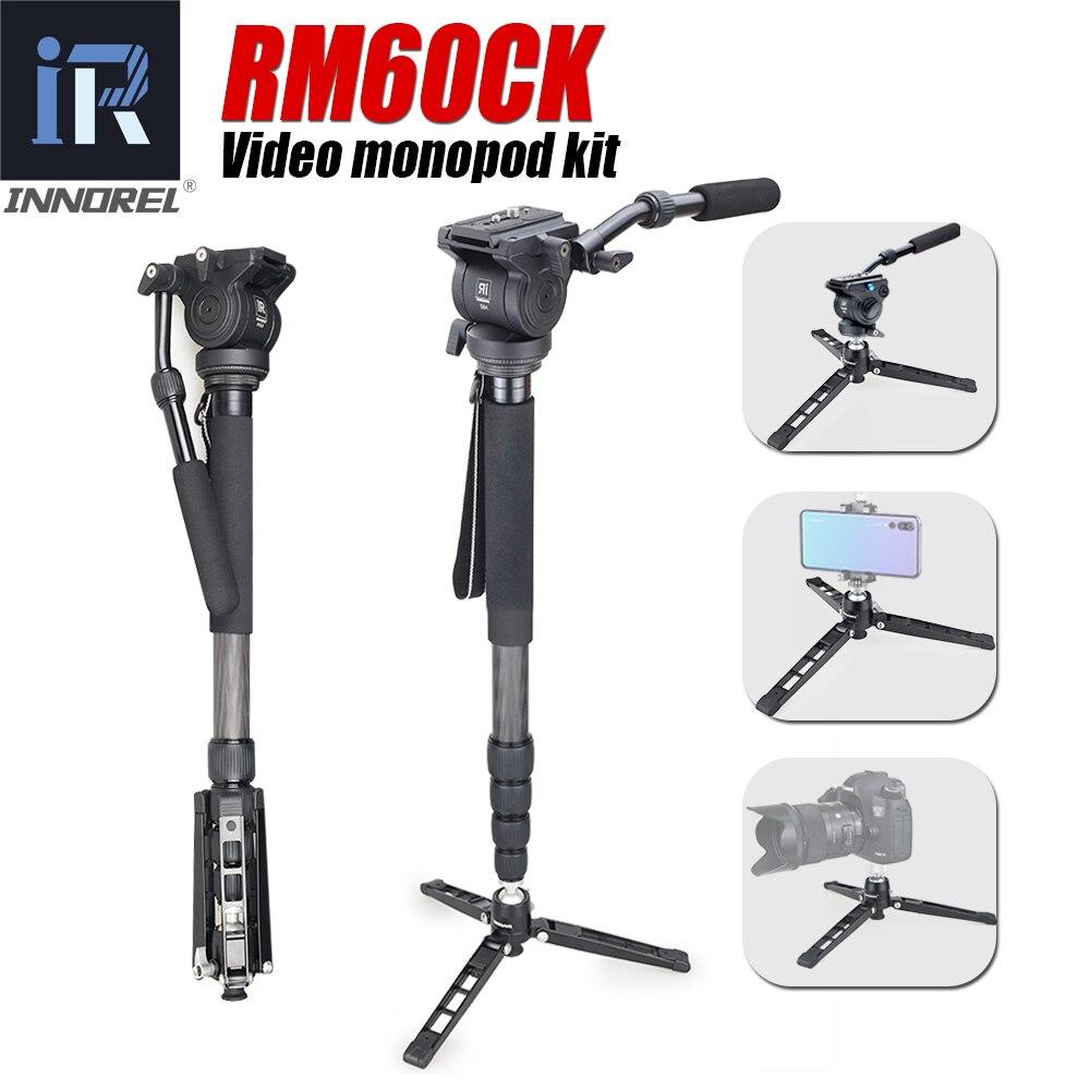RM60CK video profesional Monopod Kit de fibra de carbono telescópico Monopod para cámara DSLR Gopro con Base de trípode de mesa de cabeza fluida