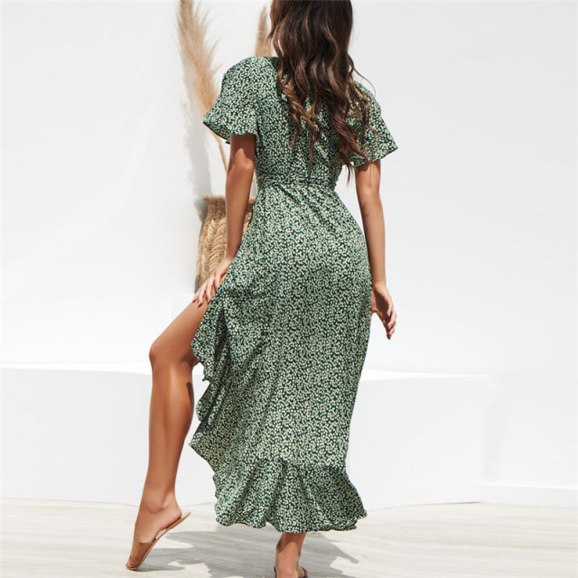 Summer Beach Maxi Dress Women Floral Print Boho Long Chiffon Dress Ruffles Wrap Casual V-Neck Split Sexy Party Dress Robe 2
