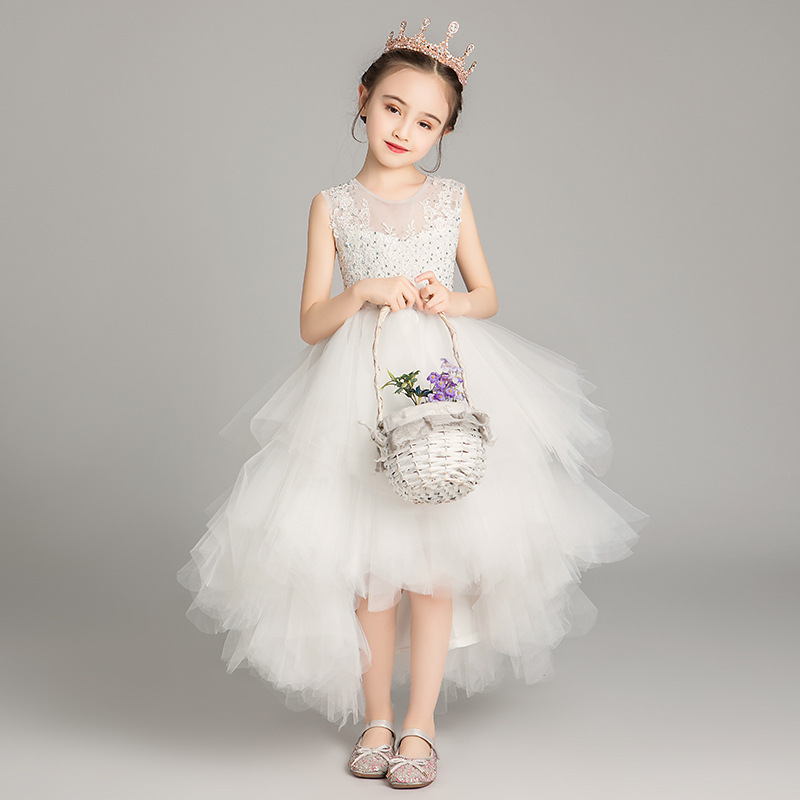 Princess Dress Girls Puffy Yarn Little Girl Western Style CHILDREN'S Dress Host Piano Costume Flower Boys/Flower Girls Wedding D