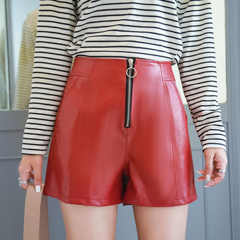 Plus Size Zipper PU Leather Shorts Women Autumn Winter High Waist Loose Width-leg Shorts Female Fashion Wild Shorts Streetwears