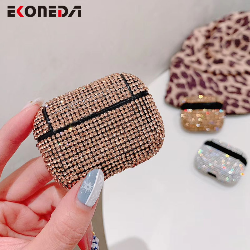 EKONEDA Bling Diamonds Earphone Case For Airpods Pro Case Luxury Girl Protective Shell Cover For Airpod Pro Case