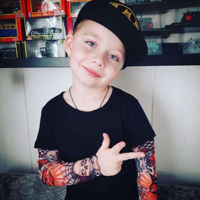 Boy T-Shirt Tattoo-Sleeve Spring Children Tee Novelty Baby-Boys Autumn Kids Tops Cotton