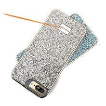 Yanıp sönen Rhinestone telefon kılıfı için iphone 7 8 artı XR XS 2 in 1 elmas Glitter kadın arka kapak iphone için kılıf Xs Max kılıfları