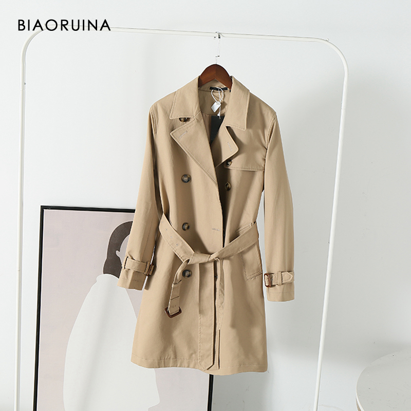 BIAORUINA Women's Classic England Style All-match Double Breasted Long   Trench   Coat Turn-down Collar Office Lady Elegant Coats