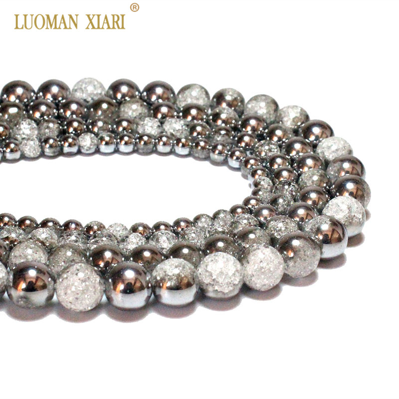 Wholesale One Side Plated Silvery White Snow Cracked Crystal Glass Stone Beads For Jewelry Making DIY Bracelet Necklace 6-12mm