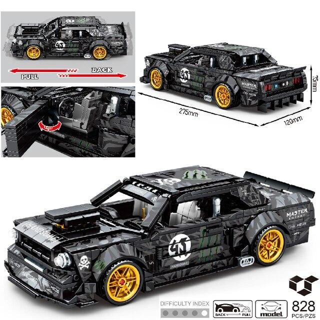 MOC 828pcs Classic Car City Pull Back Sports Car Building Block Model High-Tech Speed Roadster Kid Toy Assembled DIY Bricks Gift 1