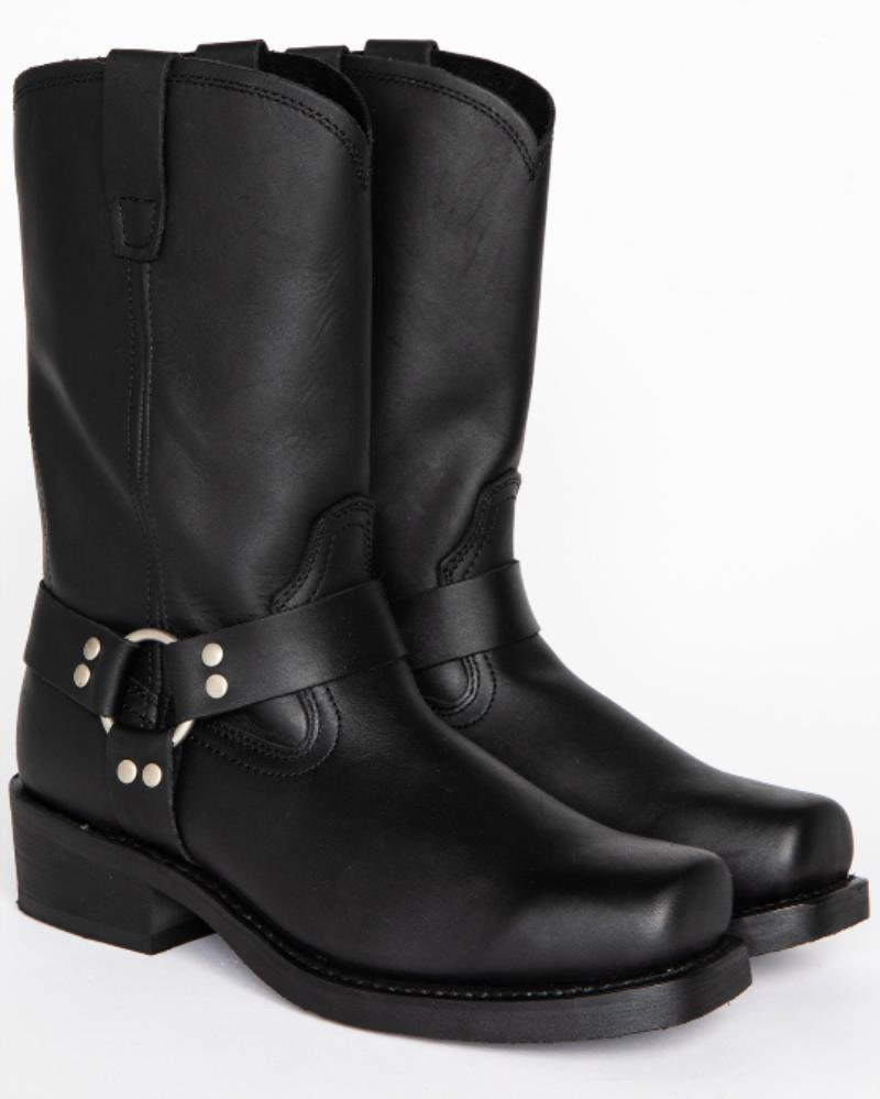 Men's PU Black Waterproof Non-slip Comfortable Classic Fashion Drawstring Round Toe Low Heel Casual Boots Work Boots  ZQ0257