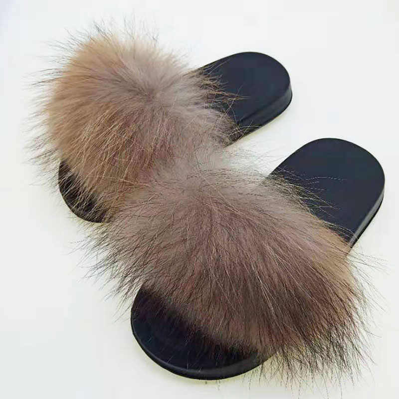 Parent-Child Fox Fur Slippers Girl Furry Home Slipper Adult Fur Slides Children Indoor Shoes Women House Fluffy Sandals Men Hot