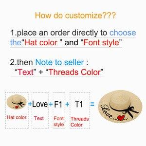 Image 2 - Custom Cappello Per Il Sole Per Cappello di Estate delle Donne Personalizzato Personalizza Il Ricamo di Testo Nome Logo Cappello di Paglia Della Spiaggia Del Cappello Femminile Parasole caps
