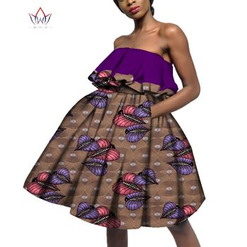 Dashiki African Strapless New Dresses For Women Bazin Riche Africa Clothing Traditional Sleeveless Cotton Ladies Dress WY3327