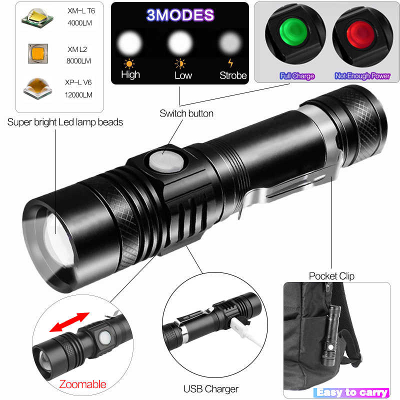 L2 8000LM Super Bright LED Flashlight LED T6 V6 DE Outdoor USB Rechargeable