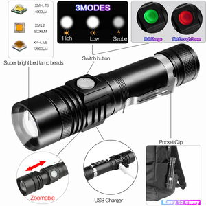 8000LM super bright LED flashlight flashlight led T6 / L2 / V6 DE Zoomable outdoor bicycle light USB rechargeable