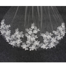 Real Photos Long Flower Lace Appliques Wedding Veil 3 M One Layer Ivory Bridal Veil with Comb Wedding Accessories