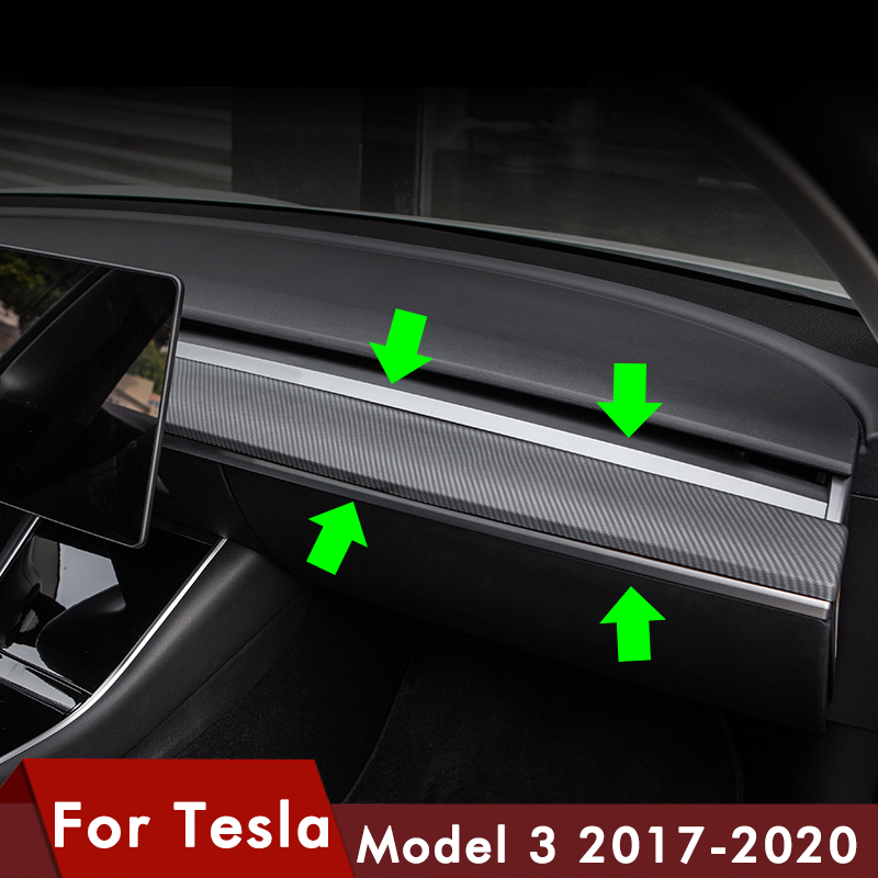 Model3 Car Central Control Trim Strip ABS For Tesla Model 3 Accessories 2017-2020 Central Console Package Kit Protection
