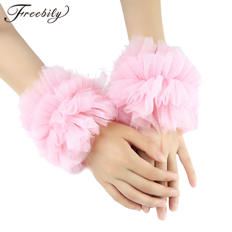 Women Girls Fashion Handmade Adjustable Ruffled Tulle Bracelet False Sleeves Wrist Cuffs Photo Props Dancing Costume Accessories