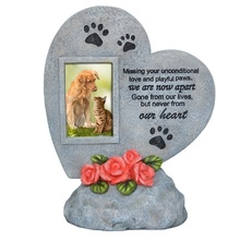 Pet Memorial Stones Photo Frame for Pets Memorial Tombstone for Pet Dog Cat Paw Print