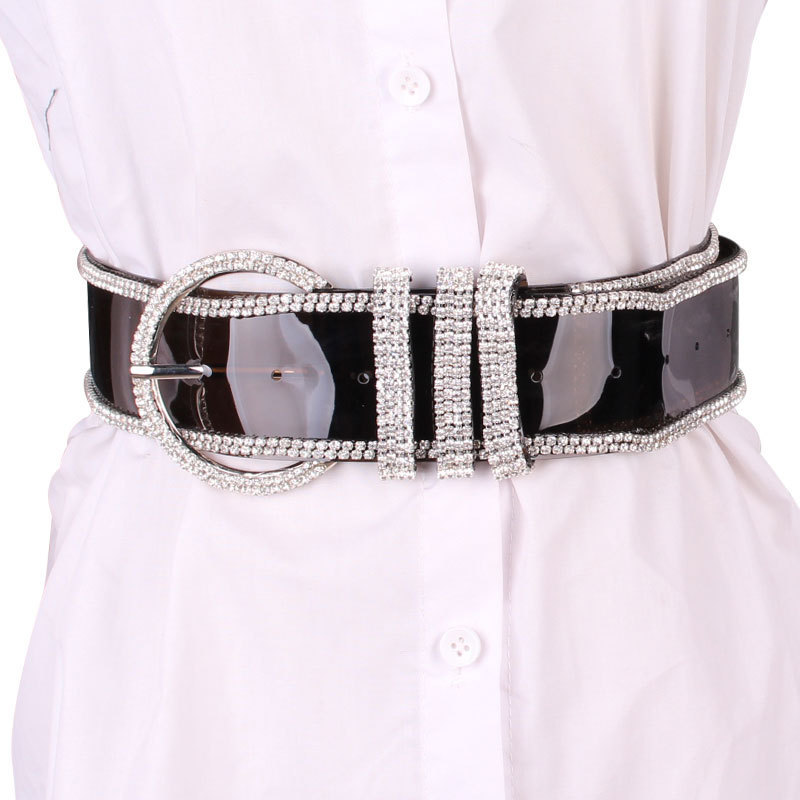 Hot Sale 2020 High Fashion PVC Wide Belts For Women Solid Diamond Corset Belt All-match New Design Waistband Female Trendy ZK897