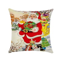 18 Inch 45CM 1 PC Merry Christmas Throw Pillow Cover Santa Claus Cushion Case for Sofa Couch Berry Wreath Pillow case,