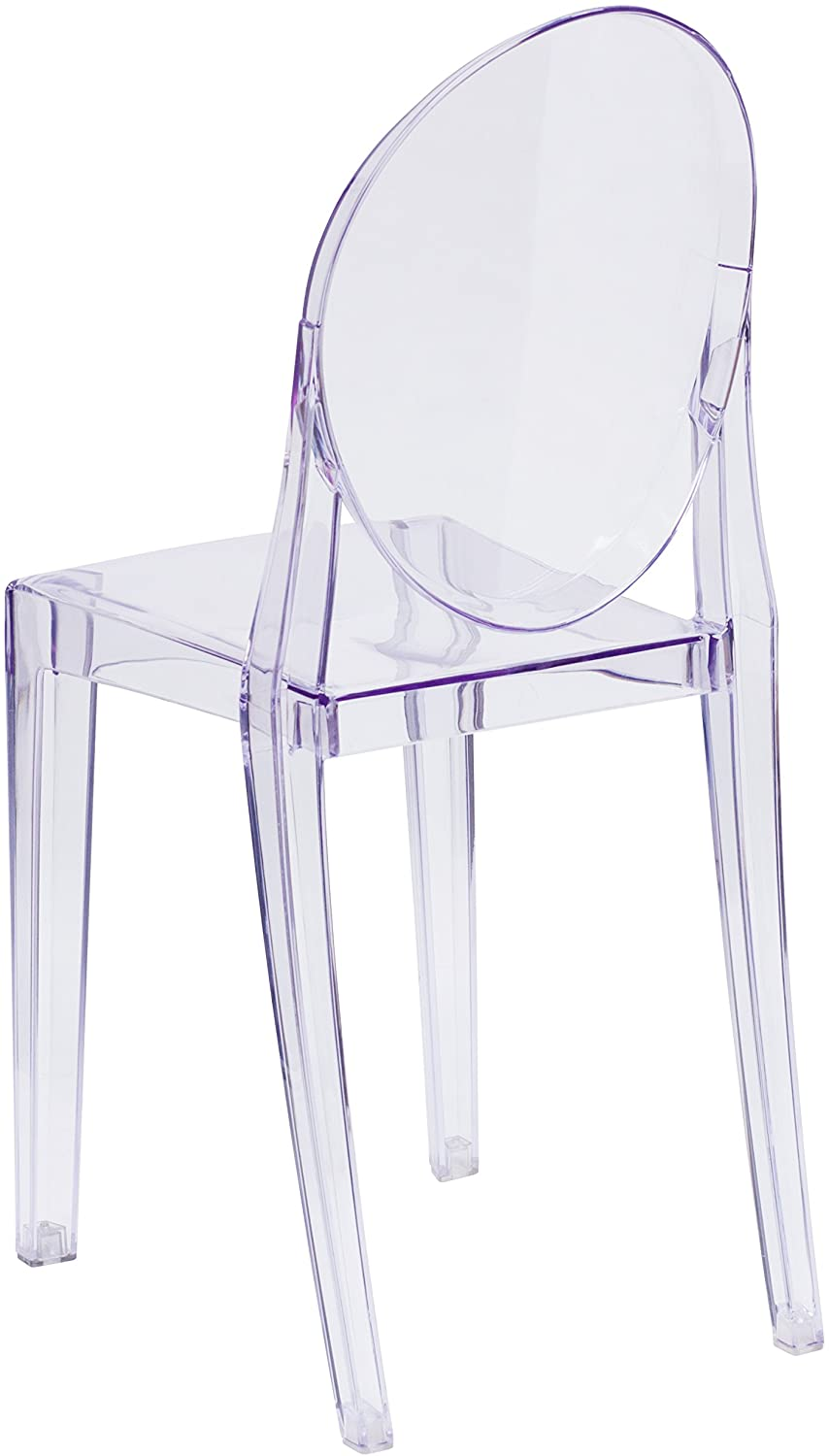 Set of 6 Dining Chairs Transparent Crystal Ghost Chair with Oval Back Modern Makeup Dressing Chair Stackable Garden Chairs Set 4