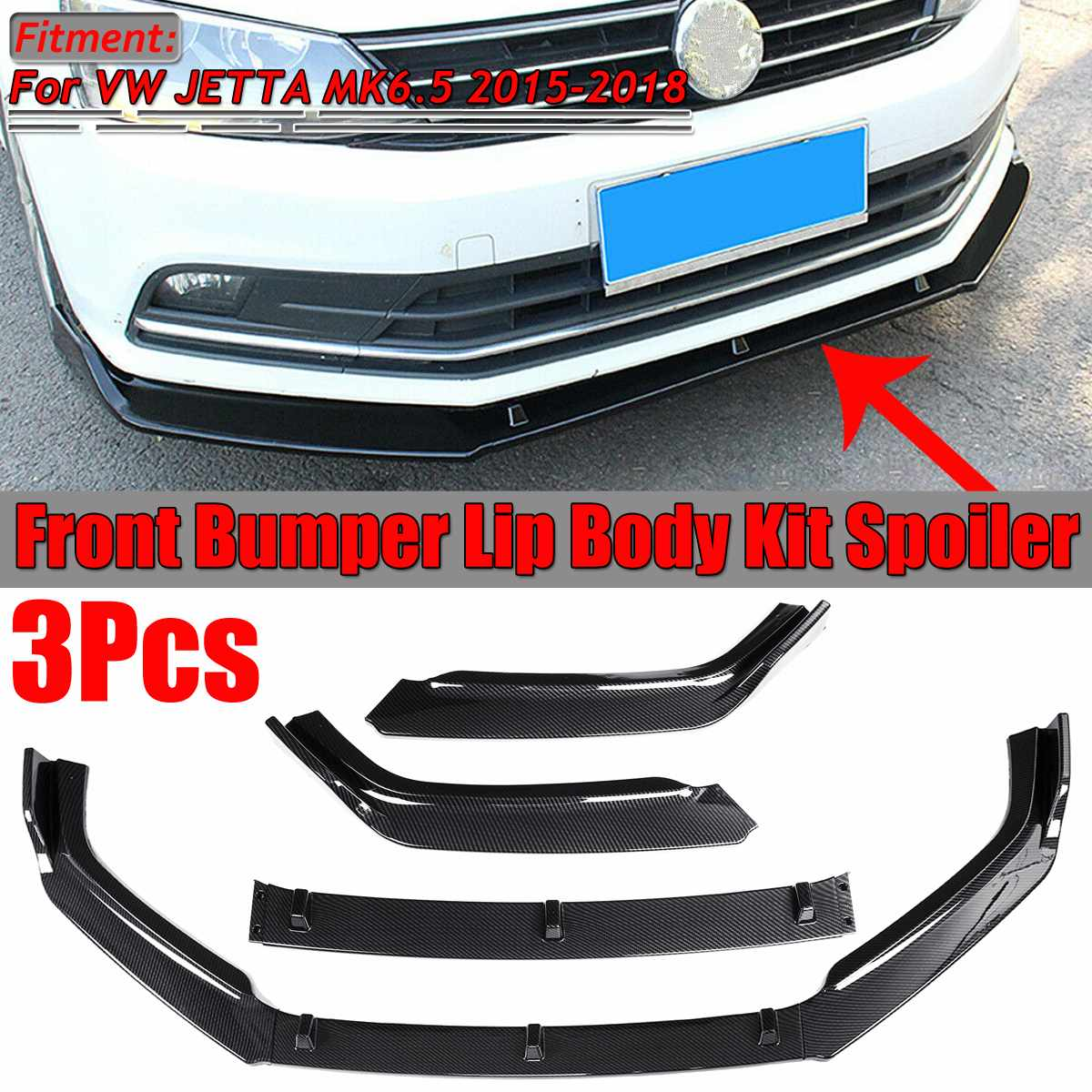 3Pcs Car Front Bumper Lip Splitter Lip Chin Bumper Diffuser Spoiler Splitters Body Kit For VW JETTA MK6.5 2015 2016 2017 2018