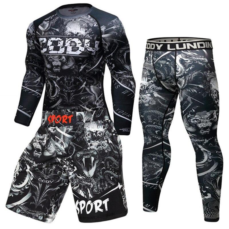 Men Sport Kickboxing Set Compression T-Shirt+Pants Skin-Tight Long Sleeves Fitness Rashguard MMA Training Clothes Jerseys Set