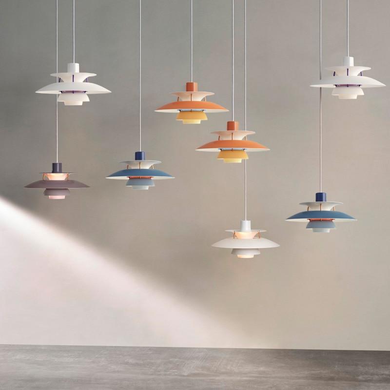 Design nórdico ph5 led luzes pingente colorido guarda-chuva forma lustre lâmpada de suspensão para dinging sala estar decoração