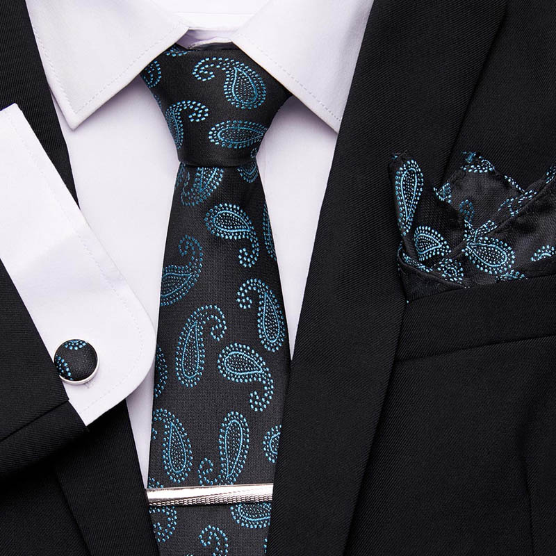 Suit Necktie 7.5cm For Men Wedding Party Accessories Wide 100%Silk Tie Set Plaid Business Hanky Handkerchief Cufflink Tie Cilp