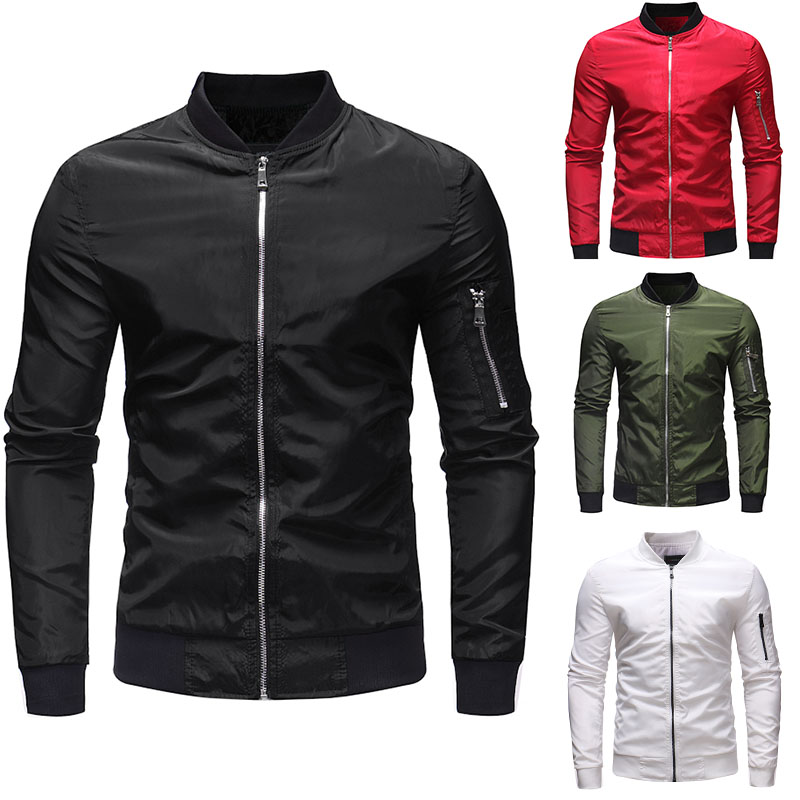 Men's Plain Casual Outdoor Military Jacket Sleeve Zip Jacket