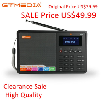 """GTMEDIA D1 Digital Radio FM stereo/ RDS Multi Band Radio with 1.8"""" LCD Display Alarm Clock 18650 Lithium Rechargeable Battey"""