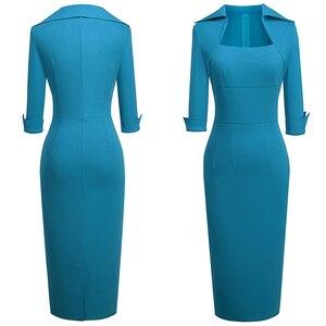 Image 5 - Nizza für immer Vintage Elegante Retro Tragen zu Arbeiten Einfarbig vestidos Business Party Bodycon Büro Frauen Kleid B471