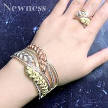 Newness Luxury Rice Flower Leaf Full Mirco Cubic Zirconia Gold-Color Women Width Feather Geometry Baguette Bangle And Ring Set(China)
