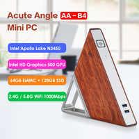 Ângulo agudo AA-B4 diy mini pc intel apollo lago n3450 windows 10 8 gb ram 64 gb emmc 128 gb ssd 2.4g 5.8g wifi 1000 mbps bt4.0 pc