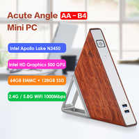 AA-B4 d'angle aigu bricolage Mini PC Intel Apollo Lake N3450 Windows 10 8 go RAM 64 go EMMC 128 go SSD 2.4G 5.8G WiFi 1000Mbps BT4.0 PC