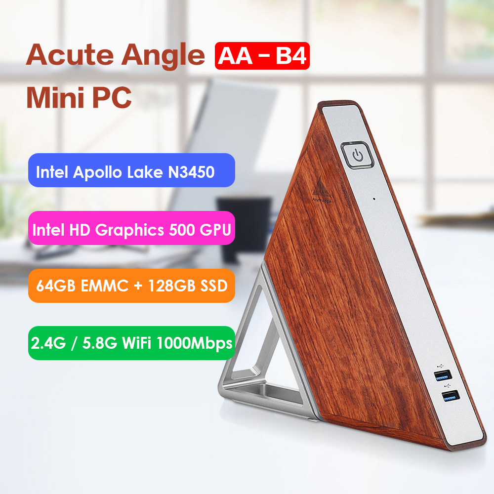 Acute Angle AA-B4 DIY Mini PC Intel Apollo Lake N3450 Windows 10 8GB RAM 64GB EMMC 128GB SSD 2.4G 5.8G WiFi 1000Mbps BT4.0 PC