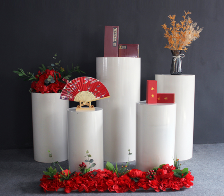 Round Cylinder Plinth Wedding Props Cylindrical Dessert Table Wedding Cylindrical Dessert Table Sign In Area Party Decorations