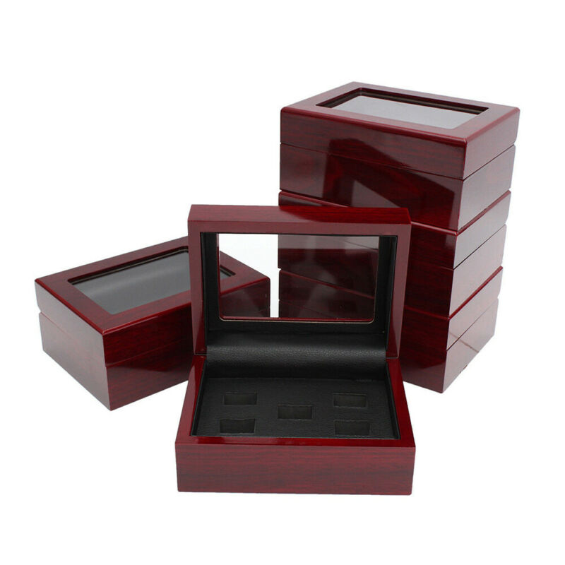 Wooden Display Box for World Series Cup Championship Ring 1/3/4/5/holes Fan jewelry Storage Container Case Gift image