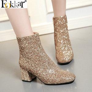 Eokkar 2020 г.; женские ботильоны с блестками; блестящие полусапожки на высоком квадратном каблуке; зимние женские ботинки с блестками, подходящи...