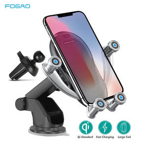 FDGAO 10W Qi Car Wireless Charger For iPhone 11 Pro XS Samsung S20 S10 Car Phone Holder Intelligent Infrared Fast Charging Stand